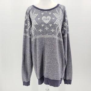 Victoria's Secret Pink Gray Snowflake Sweatshirt